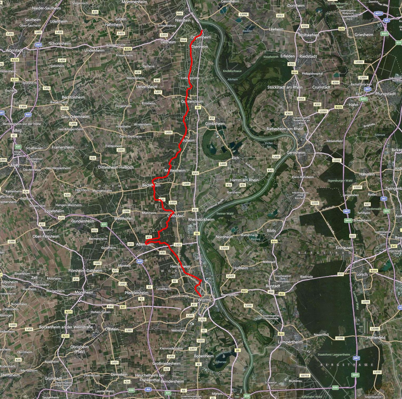 Rheinterassenweg (Karte Bing)